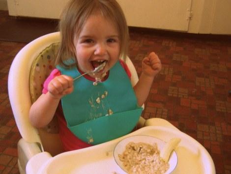Fae eating her oatmeal