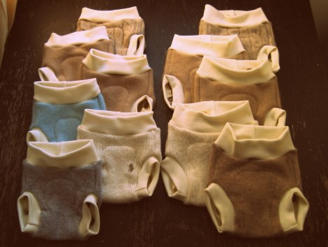 Newborn and small Wool Soakers for our new baby.